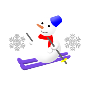 スキーをしている雪だるま