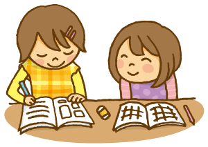 勉強する姉妹