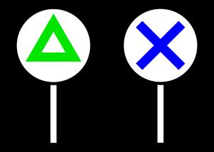 三角とバツ印