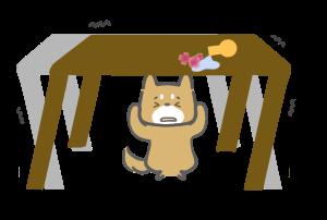 地震に怯える柴犬