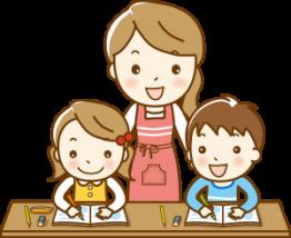 宿題中の親子