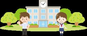 校舎と生徒