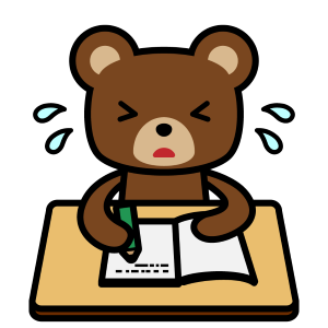勉強するクマ