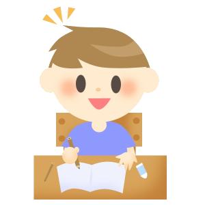 勉強中の男の子(ひらめき)